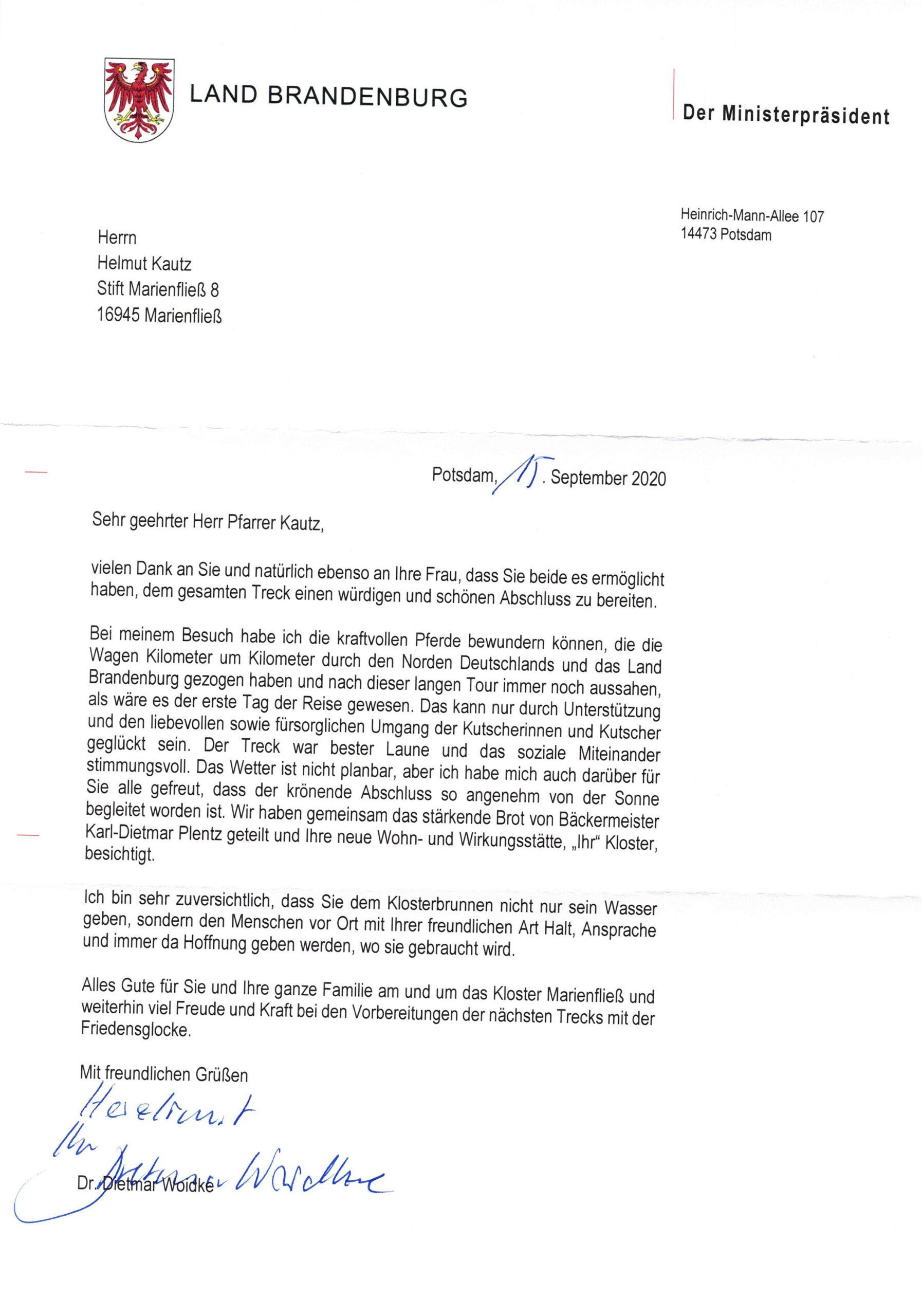 Dankbrief von Ministerpräsident Dietmar Woidke